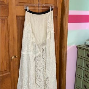 Free People Lace Patchwork Maxi Skirt